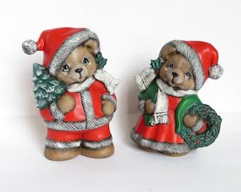 "Pair 8.5"" Hand Painted Ceramic Christmas Bear Figurines , Holiday Decor"