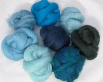 Merino Wool Roving Sampler - Blue/Green, Spinning, Felting, Crafts