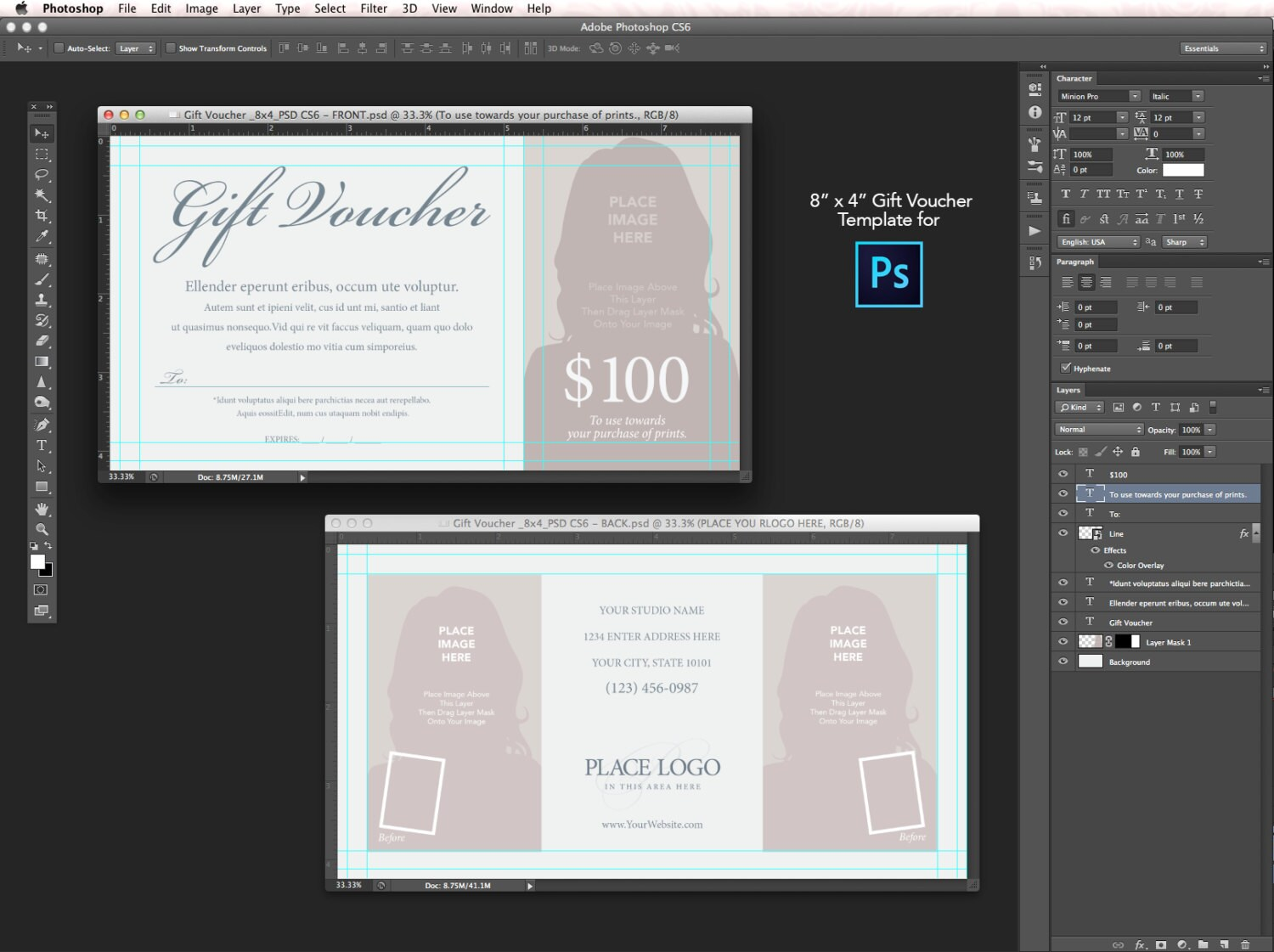 8x4 gift voucher template for photoshop cs6 zoom yelopaper Choice Image
