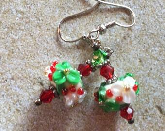 Holiday Flower Lampwork Earrings, Red and Green Flowers, Christmas Earrings,SRA  Lampwork Jewelry, Gift For Her, SRA Lampwork Earrings