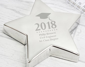 Personalised Mortar Board Star Paperweight