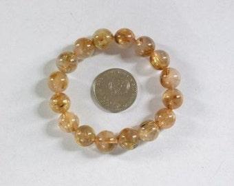 Bracelet Gold Rutilated Quartz 12mm Round Beads BSQR0756