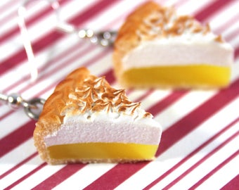 lemon meringue earrings kawaii polymer clay charms miniature food jewelry polymer clay food earrings pie earrings pie jewelry lemon earrings
