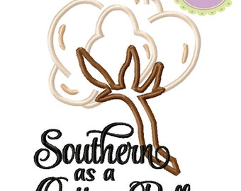 Southern as a Cotton Boll Machine Embroidery Applique Design