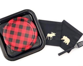 24-Set Lumberjack Baby Shower - Lumberjack First Birthday - Bear Baby Shower - Lumberjack Birthday - Party Plates - Buffalo Plaid - Moose
