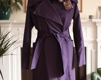 Oh Oh Chéri Vintage c. 1960's 1970's Purple Mod Style Psych Belted Trench Coat Jacket