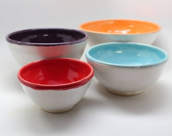 Pottery Nesting Bowls, Nesting Bowl Set, Colorful Bowls