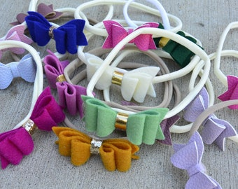 Felt and Faux Leather Bow Headband Grab Bag - Baby Headbands Assorted Colors - 5 Bow Suprise Grab Bag