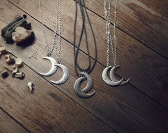 Waxing and Waning - Moon Necklace on chain or faux leather cord