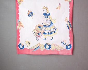 Vintage Heavy Printed Tea Towel Pink and Blue