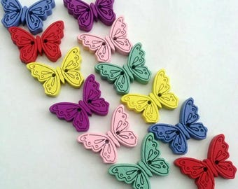 12 Butterfly Wooden Buttons #EB69