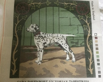 Needlepoint canvas, Victorian Tapestry canvas, Dalmation dog, embroidery canv