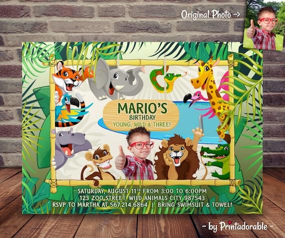 Wild and Three - Jungle Invitation - Jungle Invite - Zoo Invite - Three Invite - Young Wild and Three - Jungle Party - Animals Invite