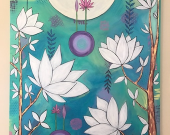 Dancing tree, lotus flower ,original acrylic painting , Flowers , tree, moon, Intuitive painting , whimsical art, Big canvas art .