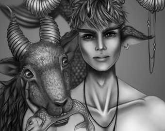 Zodiac Capricorn B/W - Art Print