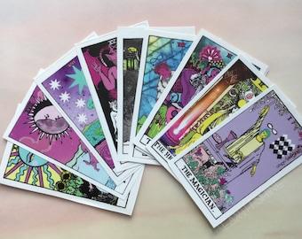 Tarot Card stickers, Set of 10, Major Arcana Rider Waite remake