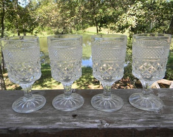 Vintage Easter table setting decor farmhouse chic Anchor Hocking clear Wexford press criss cross Claret Wine Glasses set of 4