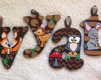 "Hand Painted 5"" Woodland Animals letters"