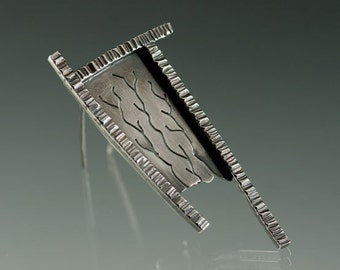 Sterling Silver Blackened Textured Brooch, One of a Kind, Ready to Ship