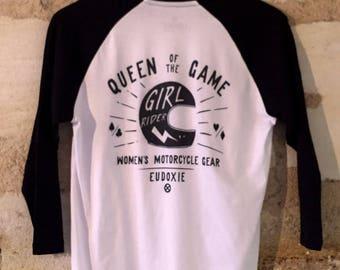 T-shirt Baseball GIRLRIDER/ Blanc et Noir / EUDOXIE Women's Motorcycle Gear