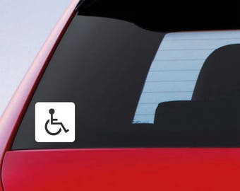 x2 Disability Icon Car Window Bumper Disabled Mobility Wheelchair Sticker Vinyl Decal