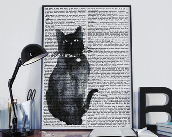 cat print, black cat dictionary print, black cat wall art