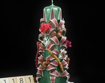Hand Carved Candle Green and Red, Christmas Tree Carve with Squirrels and Flowers, 7 Inch, OOAK, 1181