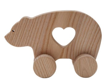 Organic wooden pull toy. Natural push toy. Eco friendly Infant toy. Pull bear. Pull toy for toddlers.
