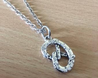 Pretzel Necklace Silver Pretzel Pendant Pretzel Jewelry Food Jewelry Snack Food Necklace