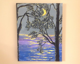 Original,handpainted,11x14,nautical,beach decor ,moon on water,painting of moon,moon behind tree, night painting,acrylic on canvas.