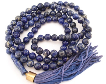 Lapis Lazuli Prayer Beads with Tassel Mala Necklace Meditation Prayer Lariat Rosary Healing Stones