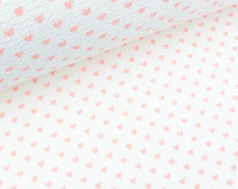 Waffelpiqué small hearts rose on white (14.90 EUR/meter)