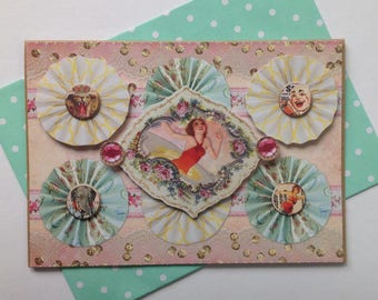 double card, handmade, 3D, birthday, any occasion, Vintage circus.