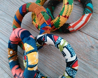 Vintage Wooden bangles, African print fabric, Stack, mix and match,Africa,Rasta, Island gal,Women's jewelry,Kinte