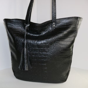 Tote Bag, Black Mock Croc, with Recessed Zipper Closure and Tassel - Custom, Design Your Own Tote