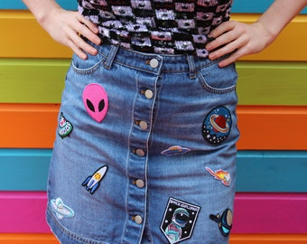 Vintage 90's Reworked Blue Denim Skirt Festival Summer Space Alien Badges Size 10
