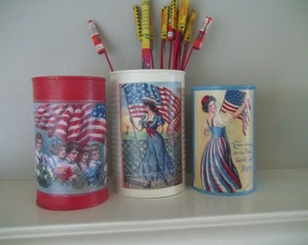 Painted Tin Cans Americana Patriotic Fourth of July  Vintage Prints Red White Blue