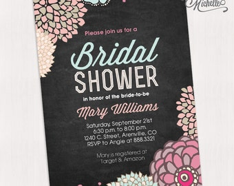 Chalkboard Spring Floral Bridal Shower Invitation Printable Vintage