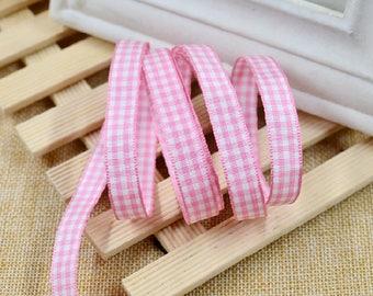 "50 meter 1cm 0.39"" wide ivory pink check  fabric braid dress tapes lace trim ribbon F14W558O1009C free ship"
