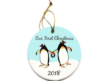 First Christmas Tree Ornament Penguins Round