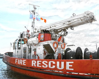 Fire Rescue Boat Photography - Emergency Responder Marine Water - Lyon MacKenzie Wall Decor Fine Art Print, Firefighter,