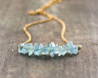 Raw Aquamarine Bar Necklace