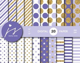 Purple gold glitter digital paper, Patterns, Backgrounds, Lilac and Purple glitter gold digital scrapbooking, MI-780