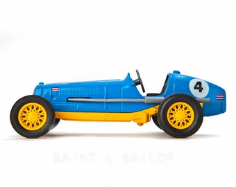 Blue With Yellow Wheels No.4 Vintage Race Car on White Background, One Photo Print, Boys Room decor, Vintage Car Prints