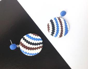 Dangle drop earrings / Polymer Clay Earrings / Statement Earrings / Geometric Earrings/ Gifts for Her / Fashion / Stud earrings