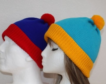 Red Blue Stan or Blue Yellow Cartman, South Park pompom beanie hat Teen upto Adult size