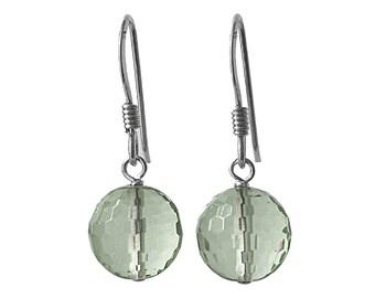 8mm Genuine Green Amethyst Gemstone Micro Faceted Bead / Ball / Sphere 925 Sterling Silver Drop / Dangle Earrings Pair