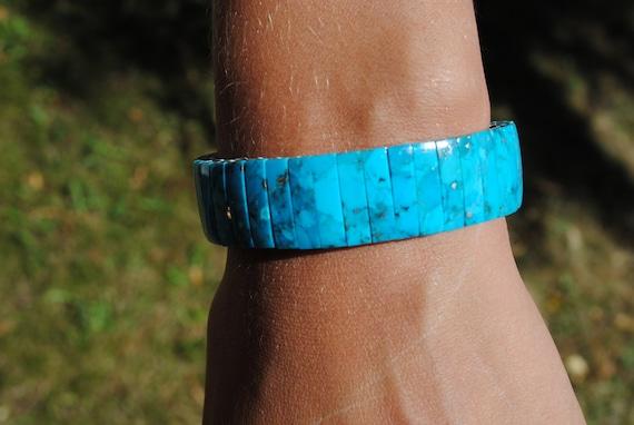 Bracelet extensible en turquoise naturelle