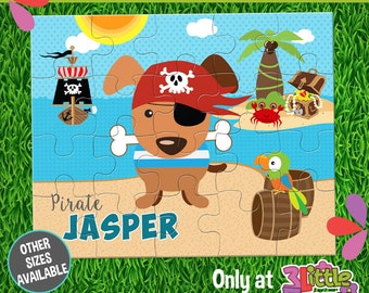 "Pirate Puzzle - Personalized 8 x 10"" Puzzle - Personalized Name Puzzle - Personalized Children Puzzle - Personalized Puppy Pirate Puzzle"