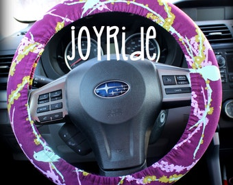 Tula Chloe Bird Sparrow Purple Steering Wheel Cover Accessories Grip Tight With Wristlet Keyfob Option Tropical Blue and Coral Designer